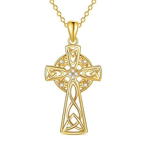 Nature Diamond Celtic Cross Irish Knot Necklace for Women,18K Yellow Gold Plated 925 Sterling Silver Trinity Knot Celtic Pendant Necklace Anniversary Birthday Gifts for Girls Mom Wife 18'+2'