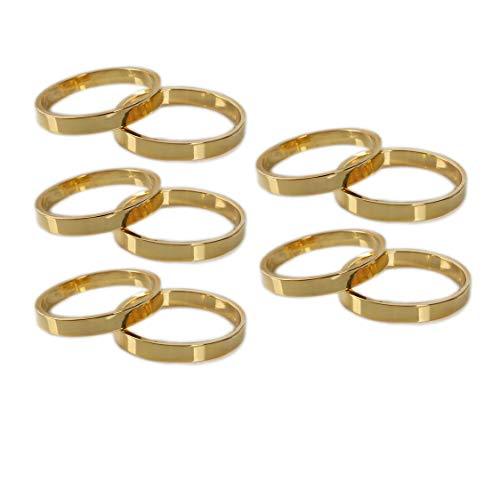 Yalulu 10 Stück Serviettenringe Set, Gold Edelstahl Serviettenhalter für Hochzeit Geburtstag Weihnachten Taufe Kommunion Dekoration