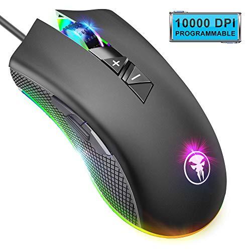 Yocktec RGB Retroiluminación Ratón Gaming Óptico, 8 Botones Programables Profesional Cableado Ratones Gaming Ergonómico con 10000 dpi Adjustable, Definición de la Macro para Gamer/PC/Ordenador