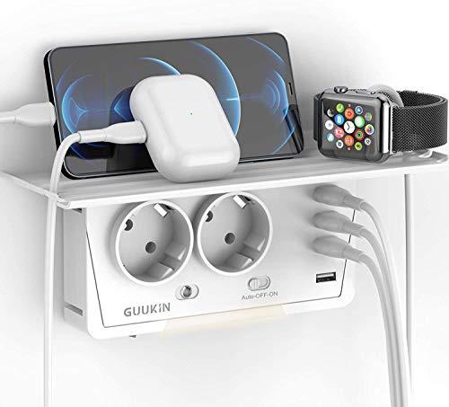 GUUKIN Enchufe USB Pared Multiple, Protector contra Sobretensiones con Luz Nocturna Ajustable, 2 Salidas de CA y 4 Puertos USB(3.1A) para Hogar Oficina
