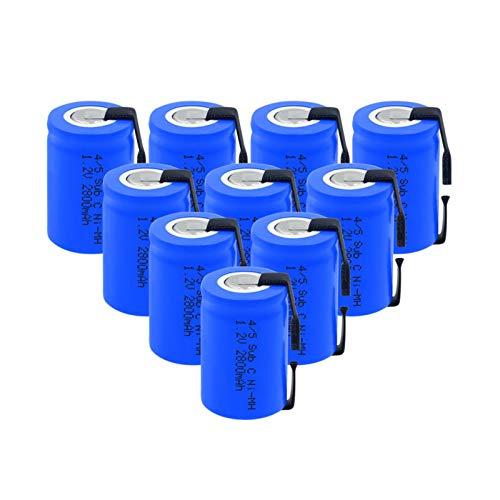 RitzyRose Batería Ni-MH de 1,2 V 2800 mAh 4/5 Sub C, recargable con pestañas de níquel de soldadura para herramientas eléctricas, 10 unidades