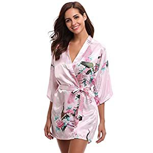 Aibrou Kimono Mujer Bata Corto Sexy y Elegante con Pavo & Flores Pijamas Albornozes Camison Mujer Suave,Cómodo,Sedoso y…