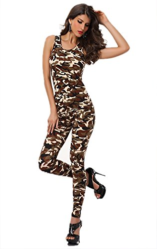 Chendong Fashion Store Leger Catsuit Jumpsuit Clubwear - Vrouwen Ronde hals Mouwloos Sexy Bodycon Camouflage Bodysuit Rompers