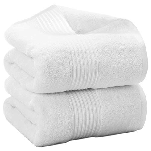 Morninglord 2 Pack 100% Cotton Bath Towels, 27 X 54 Inches Towels for Bathroom, High Absorbent and Quick Drying Bathroom Towels, Super Soft Bath Towel, White