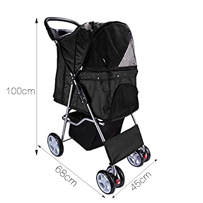 Display4top Pet Travel Stroller Dog Cat Pushchair Pram Jogger Buggy With 4 Wheels (Black) 2