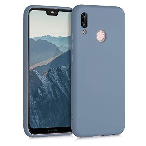 kwmobile Custodia Compatibile con Huawei P20 Lite - Cover Silicone Gommato - Back Case Protezione Posteriore Cellulare - Grigio Blu