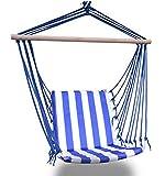 XiYou Silla Hamaca, Columpio Acolchado, 80 x 100 cm, Capacidad de Carga 100 kg, Interior y Exterior, Azul y Blanco