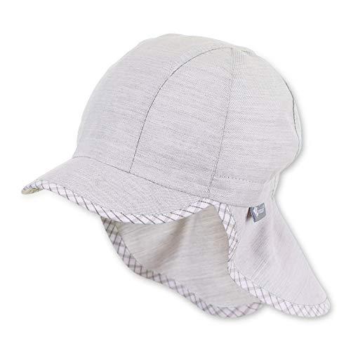 Sterntaler Baby-Jungen Schirmmütze Nackenschutz und Rand mit Gittermuster Mütze, Grau (Lichtgrau 518), (Herstellergröße: 49)