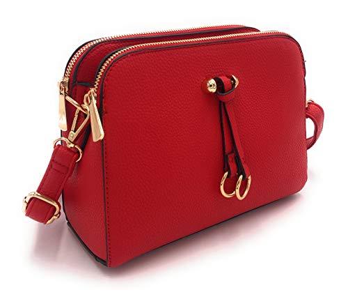 ELIOX Borsa a Tracolla Donna Piccola con 3 Scomparti Capienti - Borsa Mano PU Pelle Sintetica - Borsetta Moda Borse Spalla- Crossbody Bag (Rosso)