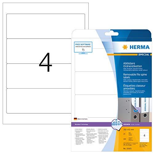 HERMA 10165 Ordnerrücken Etiketten DIN A4 ablösbar, kurz/breit (192 x 61 mm, 25 Blatt, Papier, matt) selbstklebend, bedruckbar, abziehbar, wieder haftende Ordneretiketten, 100 Rückenschilder, weiß