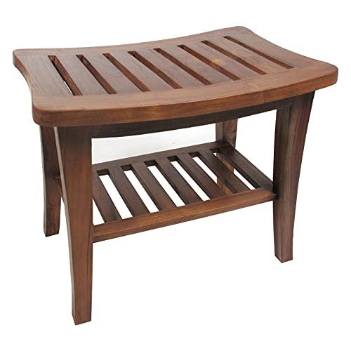Ala Teak Indoor Outdoor Patio Garden Yard Bath Shower Spa Waterproof Stool Bench Fully Assembled