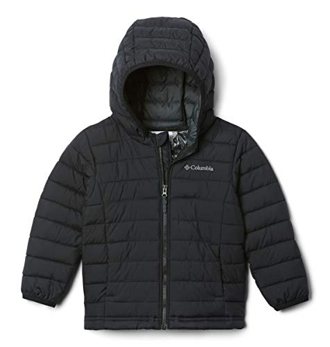 Columbia Boy's Powder Lite Hooded Winter Jacket, Water repellent, Black, X-Small