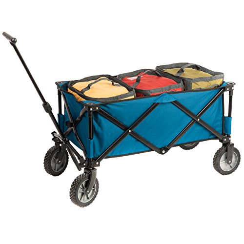 Timber Ridge Portal Collapsible Folding Utility Wagon with Cooler Bag, Garden Cart, Beach Cart, Blue