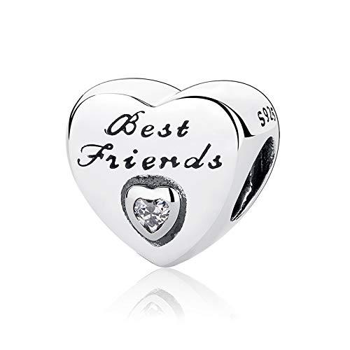 Charm dell'Amicizia con zirconia cubica, a forma di cuore, in argento Sterling 925, compatibile con bracciali e altri di tipo europeo