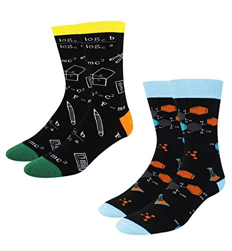 Men's Novelty Crazy Funny Math and Chemistry Genius School Formula Crew Socks