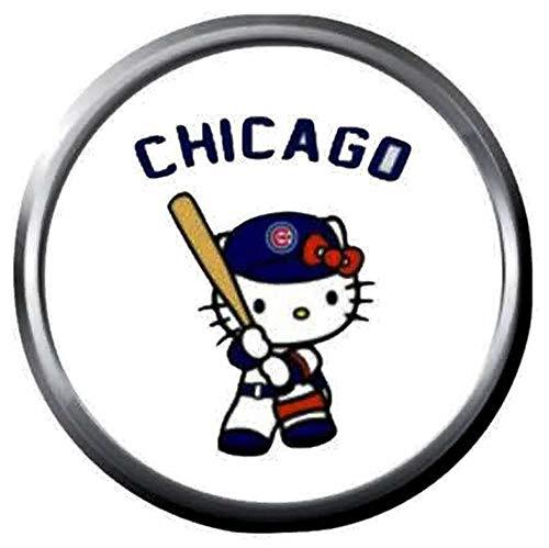 Hello Kitty Chicago Cubs Baseball MLB Team Logo 18MM - 20MM Snap Jewelry Charm