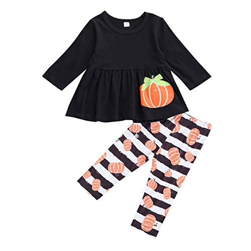 Toddler Kids Baby Girls Halloween Clothes Outfit Long Sleeve Dress Shirt Tops+Leggings Long Pants Fall Winter 3PCS Suit (Pumpkin-Black, 18-24 Months)