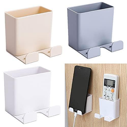 Caja de almacenamiento de control remoto-soporte para teléfono móvil montado en la pared-soporte de carga para teléfono móvil-juego de tres piezas-blanco, albaricoque, gris