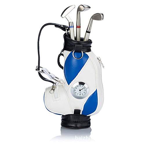 PiaoGolfGift Gadget Desktop Golftasche Stifthalter und 3 Kugelschreiber Geschenkset Stift Geschenk Set für fatherday,Blue