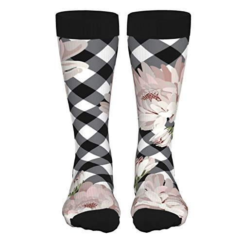 ZVEZVI Blumige Chrysantemen auf schwarzen Müttern Schwarze hochhackige Socken sind leichte und verschleißfeste feuchtigkeitsableitende schweißdicke Socken 50 cm