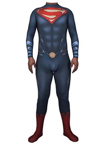 Superman Cosplay Disfraz de anime, The Man Of Steel Movie Fans Apparel Mono de superhroe para disfraces, Disfraces de Halloween Cosplay Juego de roles Medias conjuntas Traje de batalla,Men XXXL-B