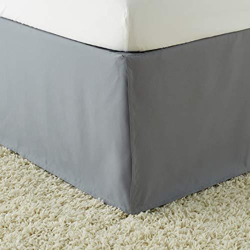 Amazon Basics Pleated Bed Skirt - Queen, Dark Grey