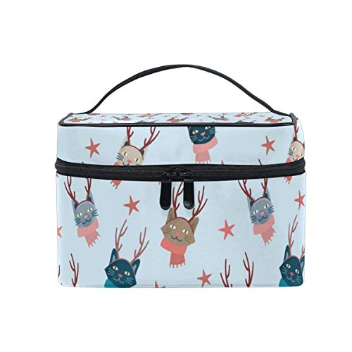 Cute Cartoon Cats with Antlers Cosmetic Bag Toiletry Travel Makeup Case Handle Pouch Organizador multifunción para Mujeres
