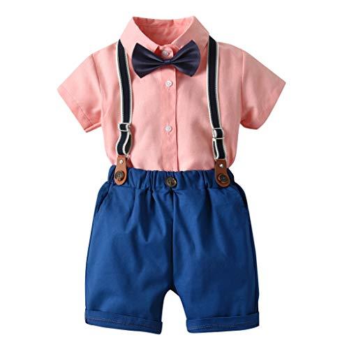 Baby Set Jungen Kleinkind Herren Anzüge Kurzarm Shirt Hosenträger Shorts Outfit Set