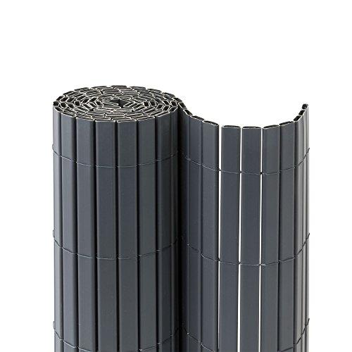 jarolift PVC Sichtschutzmatte Premium Sichtschutz Garten Balkon Terrasse Sichtschutzzaun Balkonverkleidung Zaunblende, 100 x 600cm (2X 3m Länge), Grau