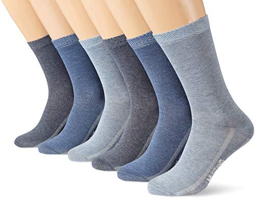 Mustang Socks Damen MU31018000 Socken, Blau (Stone Mix 5303), 39/42 (6er Pack)