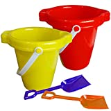 ArtCreativity Beach Sand Pail and Shovel Set, Includes 2 Sand Shovels and 2 Buckets, Fun Summer Beach Sand Toys, Sandcastle Building Toys, Practical Gift, Party Favor and Prize- Colors May Vary