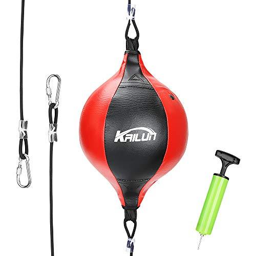 Aceshop Palla da Boxe in Vera Pelle Double-End Palla velocità Speed Sacco da Boxe Girevole con Gonfiatore Pugilato Speed Ball per MMA Boxing Bag Pungiball Set da Allenamento