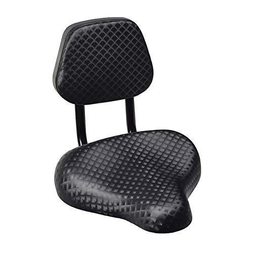 tyrrdtrd Cómodo asiento de bicicleta con respaldo de apoyo, parte ancha de piel sintética para bicicleta