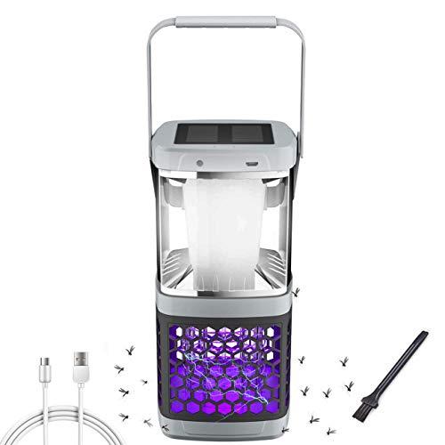 Mückenlampe Solar Campinglampe 2 in 1 UV Licht Insektenvernichter LED Zeltlampe, Tragbare Camping Lantern Insektenlampe mit 2000mAh USB Wiederaufladbarer Akku Elektrisch Mückenstecker