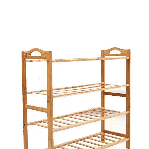 Zapatero apilable de bambú de 4 niveles, para almacenar muebles, estante para zapatos con capacidad para hasta 12 pares de zapatos para ahorrar espacio.