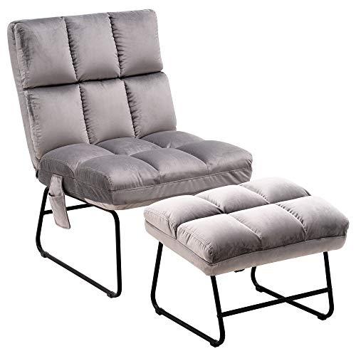MCombo Relaxsessel Fernsehsessel Loungesessel Sessel-Hocker-Set Samt-Stoffbezug grau 0014EY