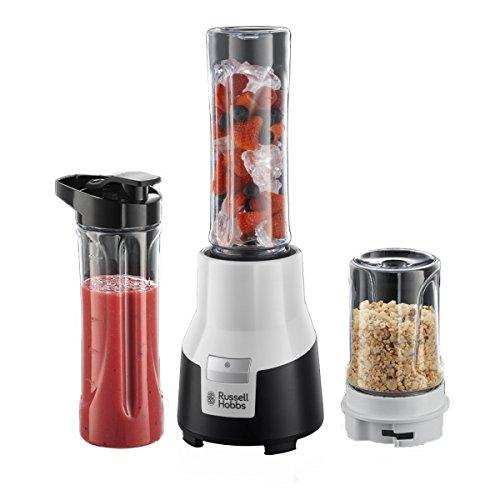 Russell Hobbs Standmixer Mix & Go Pro Aura, inkl. 2 BPA-freie & spülmaschinengeeignete Trinkflaschen & Gewürzmühle, 19.500 U/min, elektrischer Zerkleinerer, mini Mixer, Smoothie-Maker 22340-56