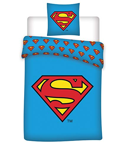 BrandMac DC Superman Bettwäsche, 200 cm x 135 cm, 80 cm x 80 cm, Deutsche Standardgröße, 100{d1eaee2d00c6510c5f360f73b53699f180b238be3d5fac5d4c0c2ce1e7ea3aa8} Baumwolle