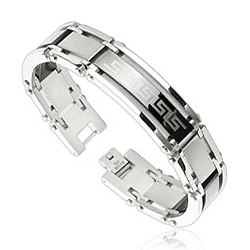 Bungsa© ARMBAND Damen silber - TRIBAL Edelstahl-Armband für Damen & Herren - Steel Armband für Frauen & Männer - 22 x 15 cm - mit hochwertigem Verschluss - Bracelet Herren und Damen