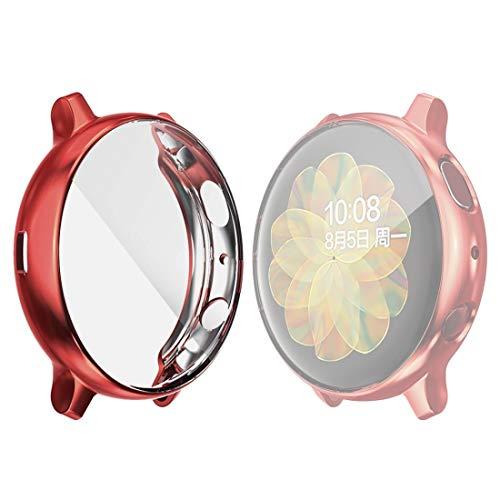 DACHENGJIN Serie de Relojes Inteligentes for la Galaxia de Samsung del Reloj Activo 2 44mm Sombrero-Prince Caso de TPU electrochapa Cobertura Total (Negro) (Color : Red)