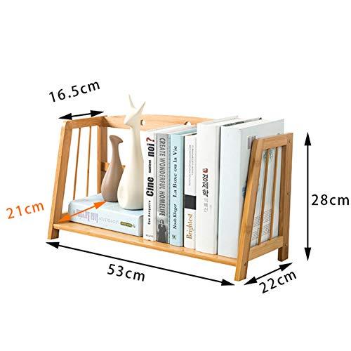 CHERCAND Verstelbare Bamboe Desktop Boekenplank Vrijstaande Boekenkast Met Laden, Multipurpose Desktop Rack, Decoratieve Boekenplank