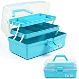 12in Three-Layer Multipurpose Storage Box Organizer Folding Tool Box / Art & Crafts Case / Sewing Supplies Organizer / Medicine Box / Family First Aid Box with 2 Trays (Blue)