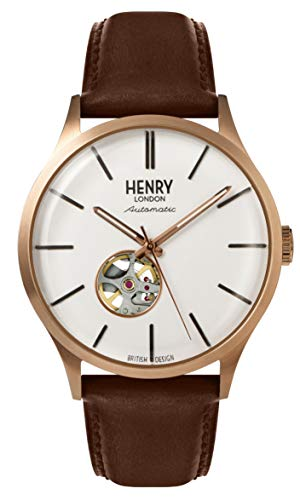 Henry London Herren Analog Quarz Uhr mit Leder Armband 5018479085966
