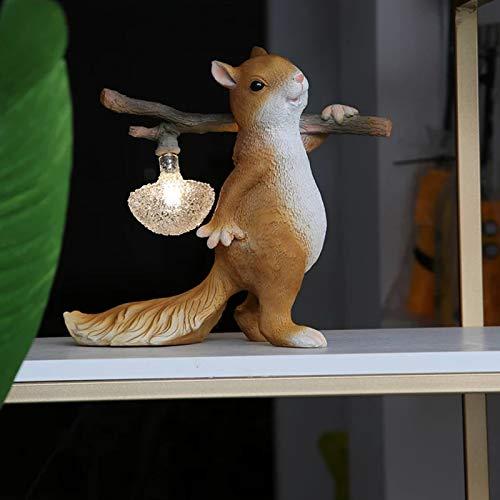 SENQIU Kreative Nachttischlampe, Moderne Eichhörnchen Tischlampe, einzigartiges Kunststoffdesign, mit Stecker, geeignet für Büro, Kinderzimmer, Wohnheimleselampe