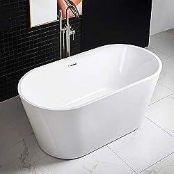 "WOODBRIDGE 59"" Acrylic Freestanding Bathtub Contemporary Soaking Tub with Brushed Nickel Overflow and Drain B-0014 -B/N-Drain &O"