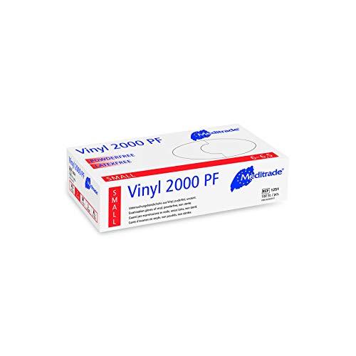 Meditrade 1251S Vinyl 2000 PF Untersuchungshandschuhe aus Vinyl, puderfrei, nicht steril, Größe S, Packung mit 100 Handschuhen