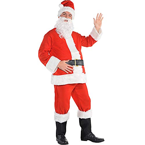 Amscan Flannel Santa Suit for Adults, Christmas Costume, Standard, with Included Accessories