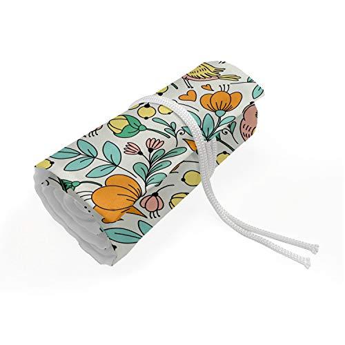 ABAKUHAUS Floreale Trousse à Crayon Enroulable, Summer Flowers colibrì, Organisateur de Crayon Durable & Portatif, 48 Trous, seafoam Marigold