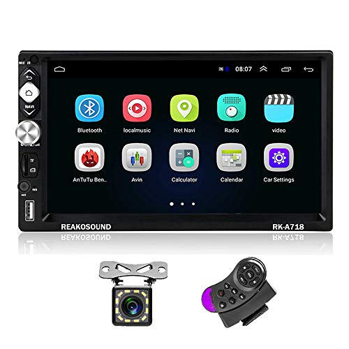 2 Din Android Autoradio GPS CAMECHO 7 Zoll Kapazitiver Touchscreen Bluetooth WiFi USB SD AUX FM Autoradio Spiegel Link + Rückfahrkamera