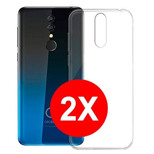 TBOC 2X Transparent Gel TPU Hülle für Alcatel 3 2019 - Alcatel 3 (2019) [5.9 Zoll] [Pack: Zwei Einheiten] Superdünn Flexibel Silikon Gehäuse für Handy [Nicht Kompatibel mit Alcatel 3]